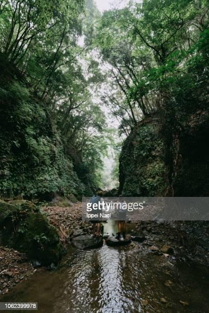 Family hiking in river in wild ravine, Chiba, Japan