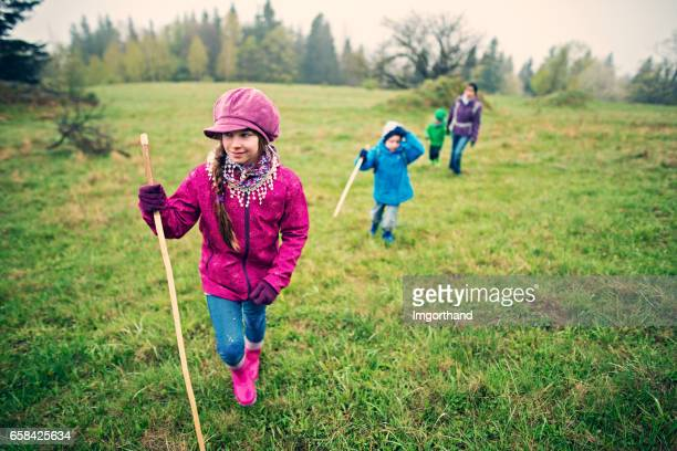 family hiking in spring - imgorthand stock photos and pictures