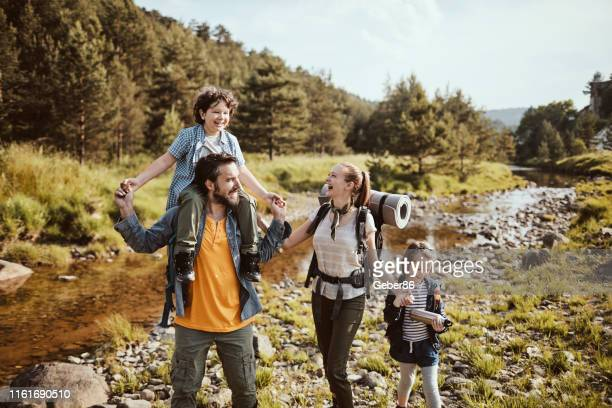 family hiking - camping stock pictures, royalty-free photos & images