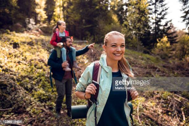 family hiking - walking stock pictures, royalty-free photos & images