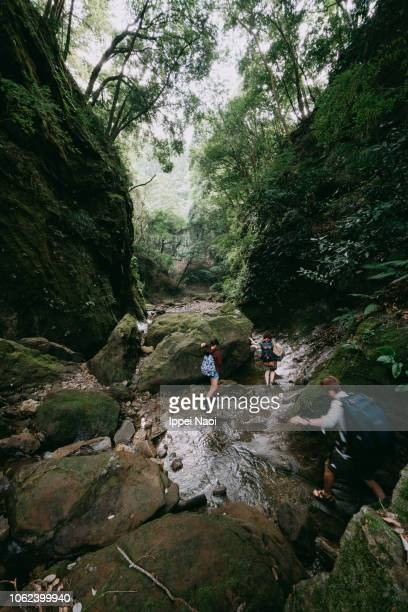 Family hiking through wild ravine river in forest, Japan