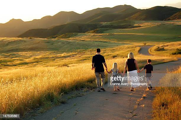 family holding hands walking down sunny hill - thousand oaks - fotografias e filmes do acervo