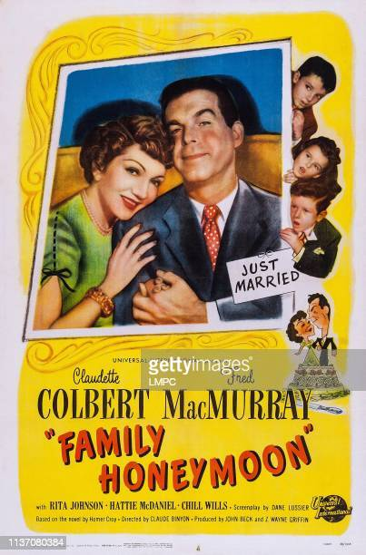 Family Honeymoon poster US poster art insert from left Claudette Colbert Fred MacMurray right from top Peter Miles Gigi Perreau Jimmy Hunt 1949