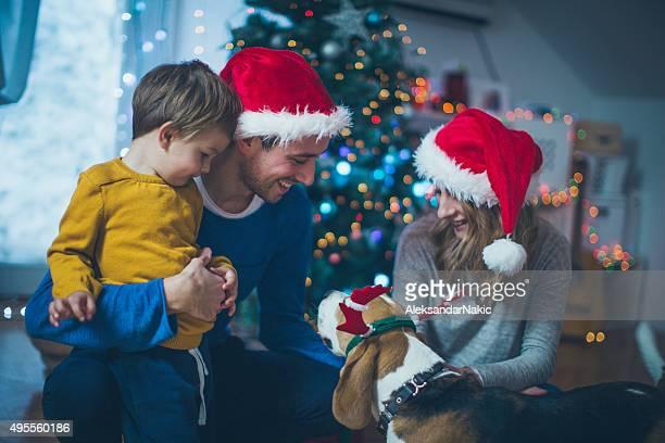 La familia en Navidad noche idyll
