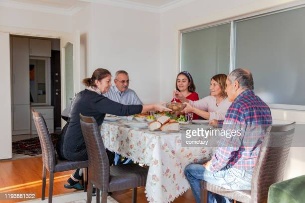 family iftar meal (icli kofte)  in ramadan - iftar stock pictures, royalty-free photos & images