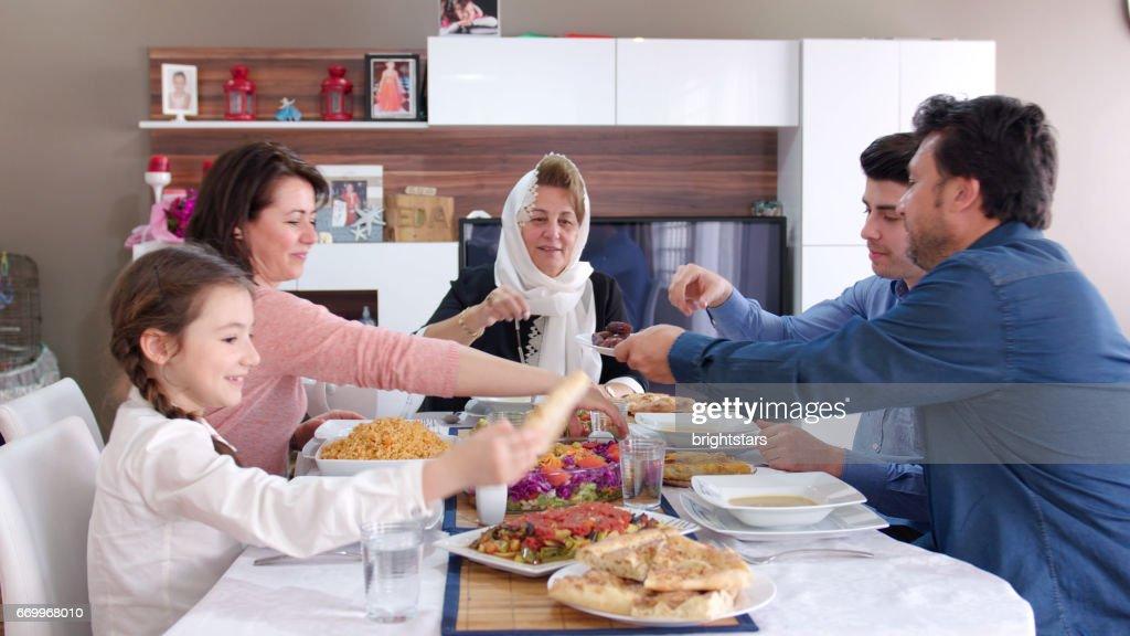 Family iftar meal in Ramadan : Stock Photo