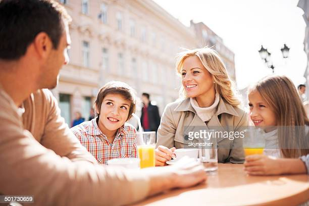 Family in a cafe.