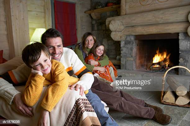 Family in a Holiday Home on a Winter Vacation