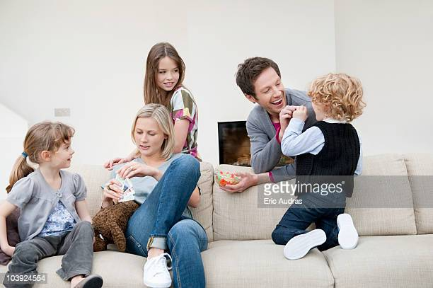 Family in a living room