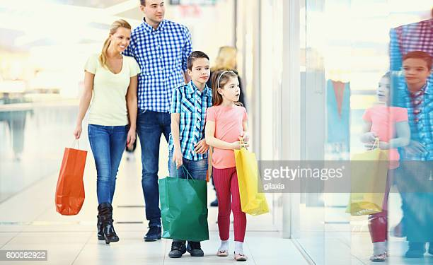 Family in a shopping mall.