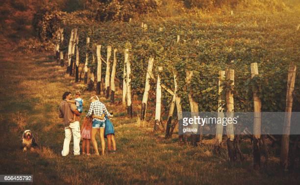 Familie in einem Weinberg.