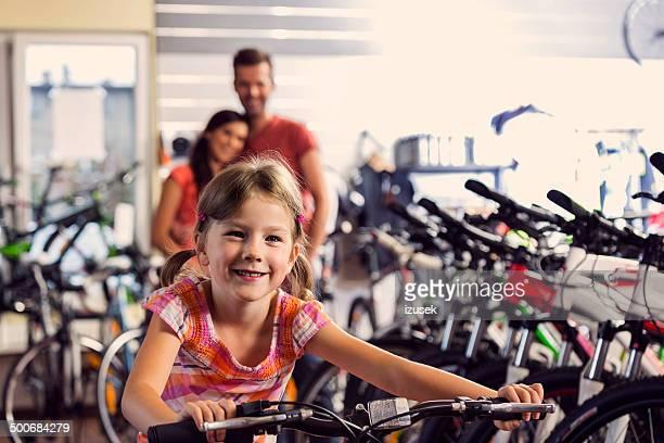 Family in bike store