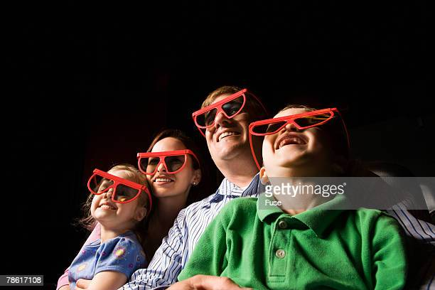 family in cinema - 3d mom son stock photos and pictures
