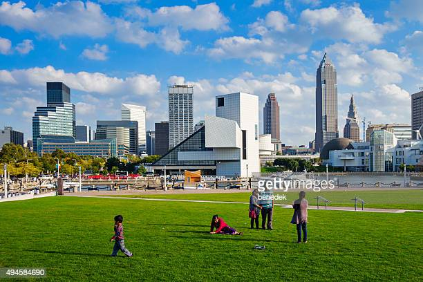 family in downtown park cleveland ohio usa - ohio stock photos and pictures