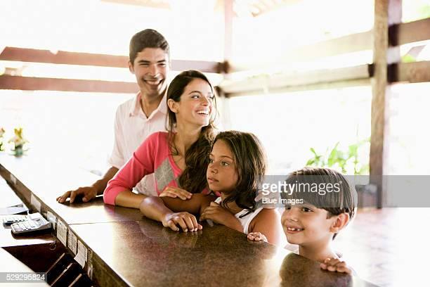 Family in hotel