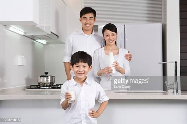 Family in modern kitchen