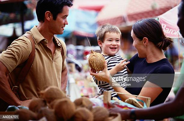Family in Open Market,  Guadeloupe, Spain