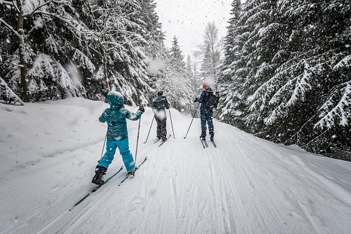 family in snowy winter landscape on cross-country-ski 918226076