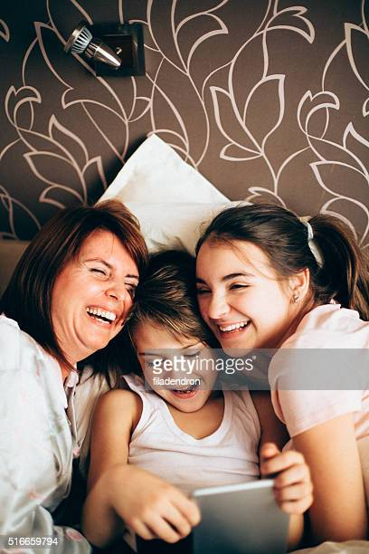 Family in the bed