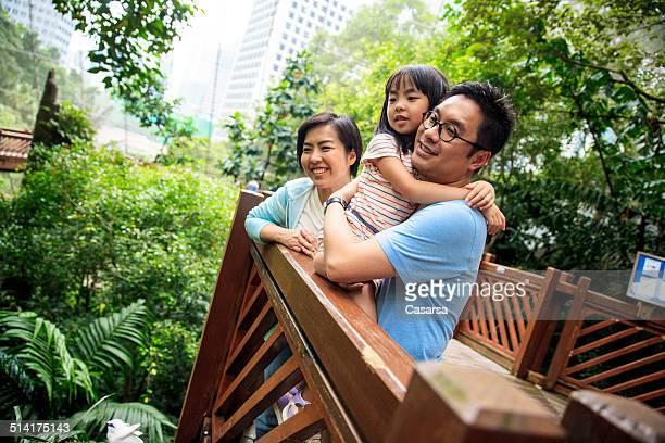 Family in the city aviary