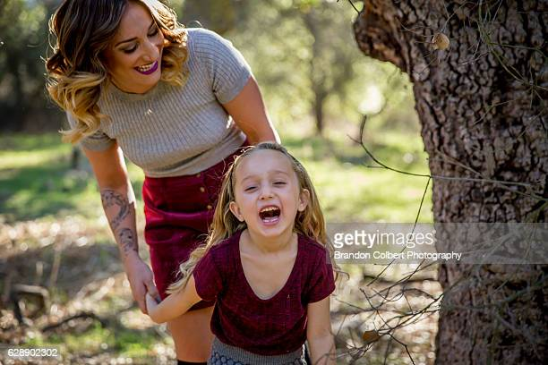 family in the woods - escondido california stock photos and pictures