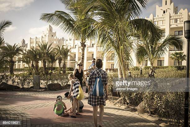 Family in tourist resort