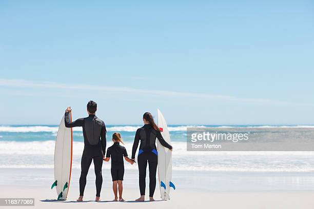 Family in wetsuits with surfboards holding hands on beach