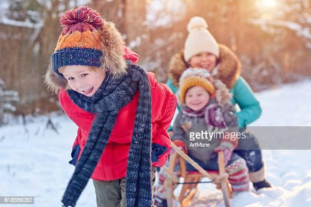 Familie in winter