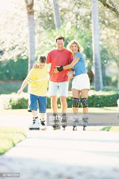 Family Inline Skating in Park