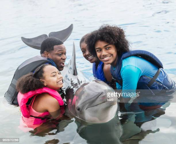 Family interacting with dolphin at marine park