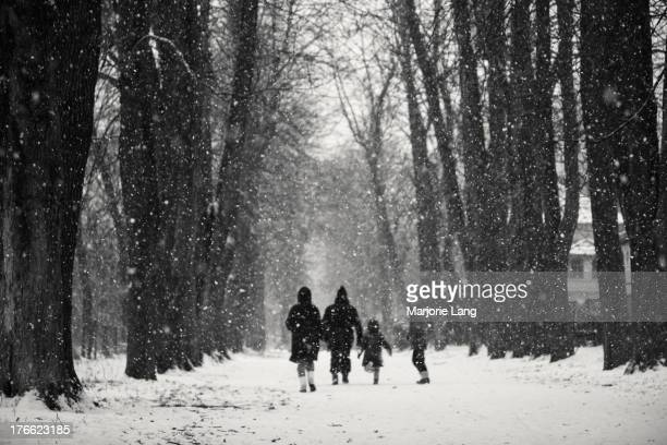 Family is running under the snow in a woods alley of Paris, France.