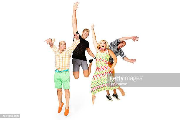 Family (or friends) jumping and acting foolish