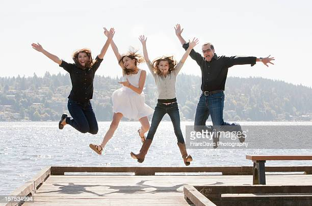 Family jumping for joy