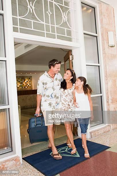 Family Leaving Hotel