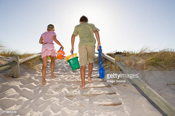 Family leaving the beach