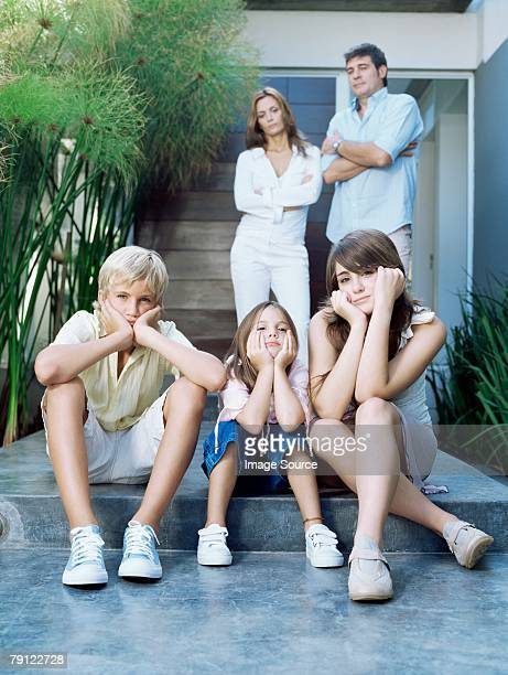Family looking fed up
