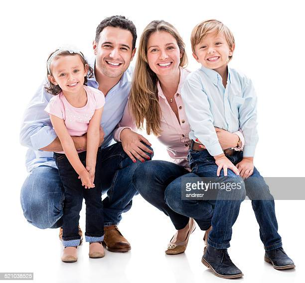 family looking happy - family with two children stock photos and pictures
