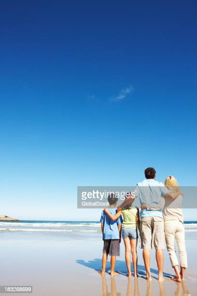 Family looking out into the ocean