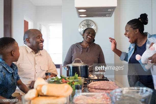 family lunch barbecue - south african culture stock photos and pictures