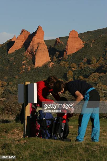 A family makes trekking in Las Medulas the old Roman mines of gold today an archaeological site declared by the UNESCO World HeritageEl Bierzo