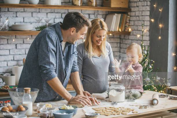 Family making cookies