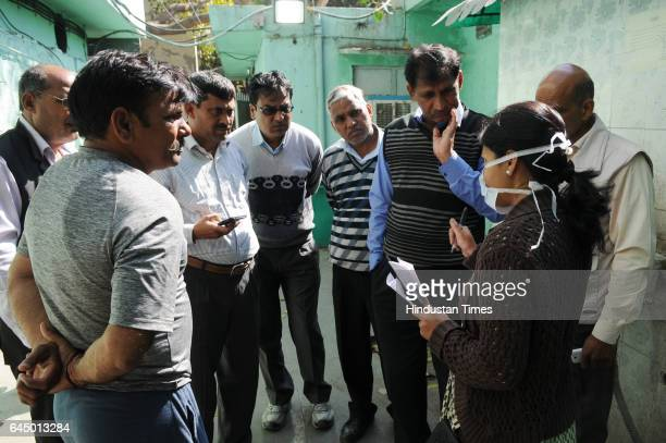 Family members and colleagues of the two firemen Hari Om and Hari Singh Meena who lost their lives when a cylinder blasted in Vikaspuri at the...