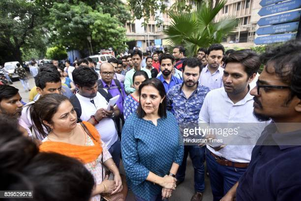 Family members and friends after a DNB Radiology intern Dr Sashwat Pande 26yearold resident doctor was murdered with his throat slit in a restroom of...