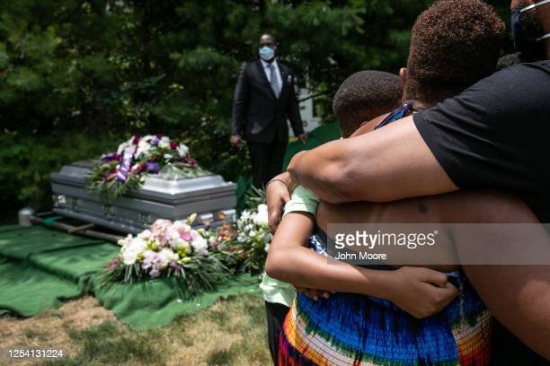 Family members and friends mourn the death of Conrad Coleman Jr. At his burial service on July 03, 2020 in Rye, New York. Coleman died of Covid-19 on...