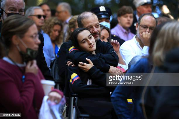Family members and loved one of victims attend the annual 9/11 Commemoration Ceremony at the National 9/11 Memorial and Museum on September 11, 2021...