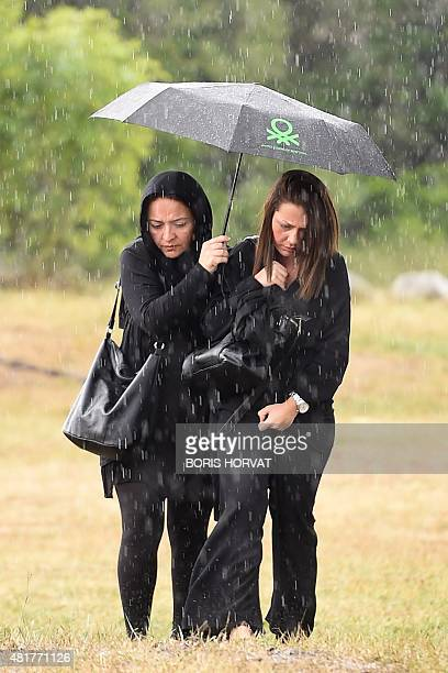 Family members and relatives of the victims of the crash of the Germanwings plane arrive on July 24 2015 in Le Vernet southern France An...