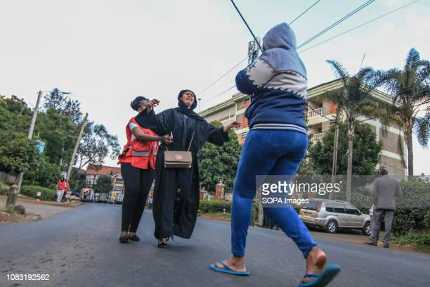 Family members are reunited after escaping an explosion related to a terrorist attack against a hotel in NairobiThe attack started at around 330 pm...