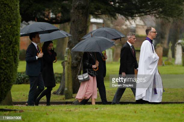 Family members arrive for a memorial service to celebrate the life of Saskia Jones at Holy Trinity Church on December 20 2019 in StratforduponAvon...