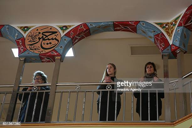 Family members attend the funeral ceremony of the Abdulmecid Han the 31st Sultan of the Ottoman Empire's third generation grandson Osman Bayezid...