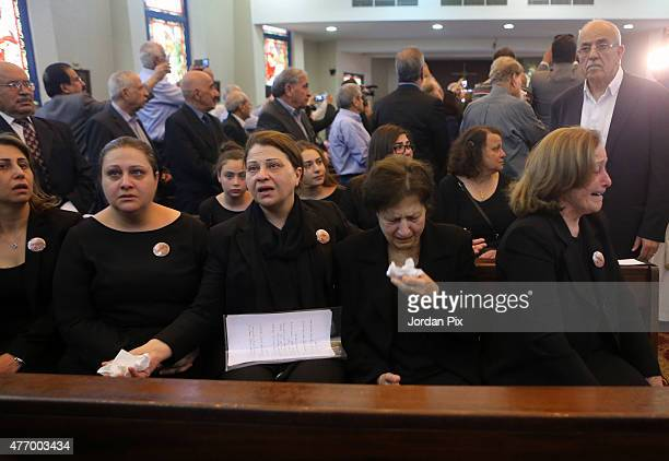 Family members attend the funeral for Tariq Aziz the former Iraqi deputy prime minister and top aide of Saddam Hussein at the St Mary of Nazareth...